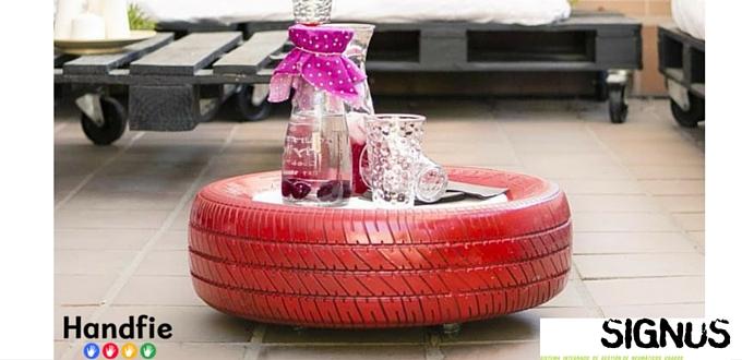 DIY mesa con neumático reciclado