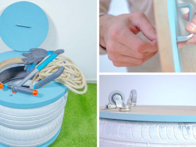 DIY : Cubo de almacenaje con neumáticos reciclados
