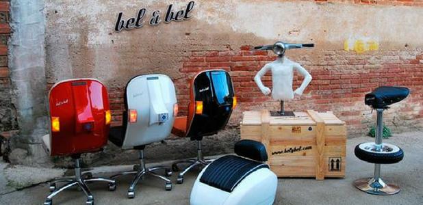 Estudio Bel&Bel: Muebles reciclando motos Vespa, Seat 600 …