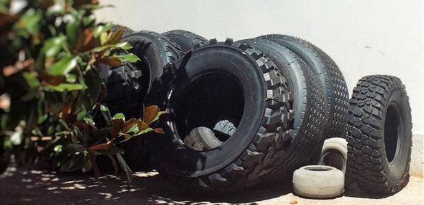 Carla Filipe, arte con neumáticos y 'malas hierbas'