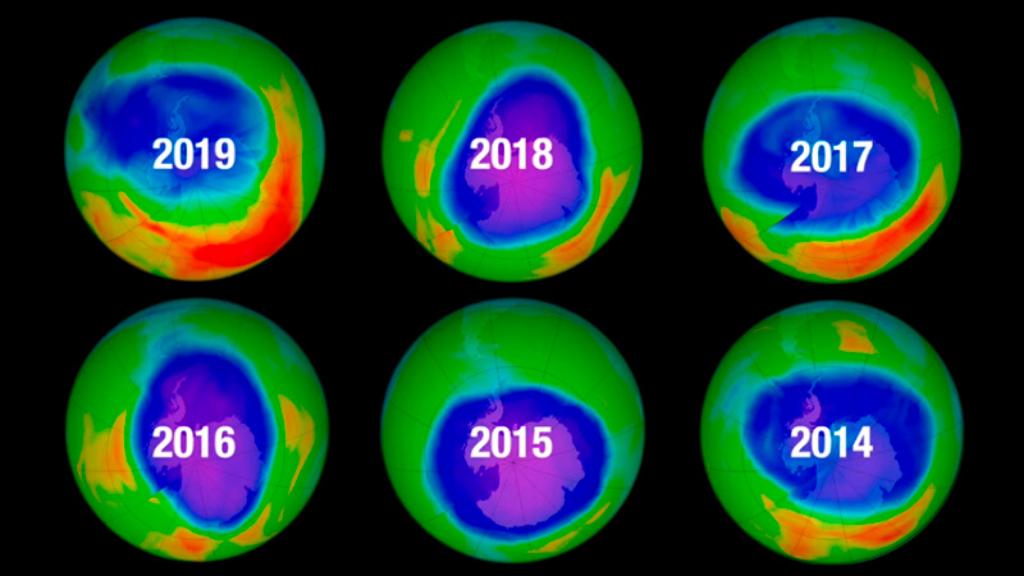 Reducción en el agujero de la capa de ozono de 2014 a 2019