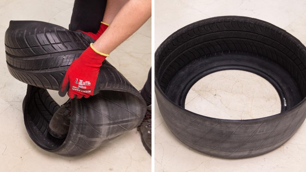Cómo dar la vuelta a la goma del neumático para que no se vea la marca de rodadura en los proyectos DIY