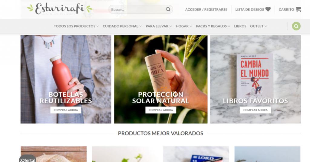 Página web de la tienda online Esturirafi