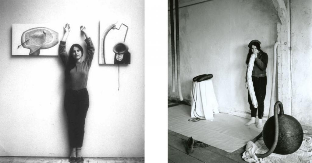 Eva Hesse Fotografías de la escultora trabajando