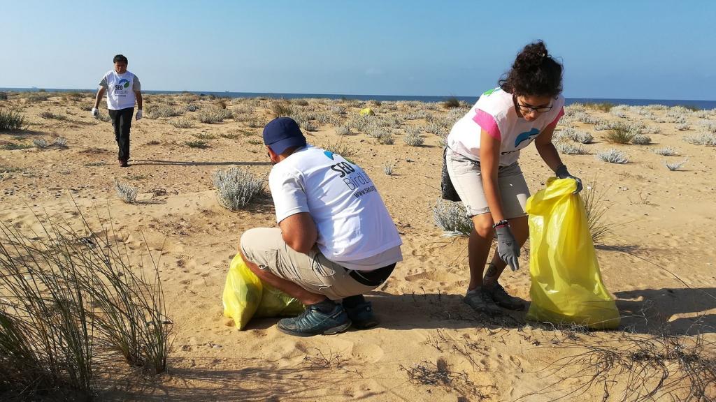 Recogida de basura en las playas por voluntarios de SEO Birdlife en el proyecto Libera