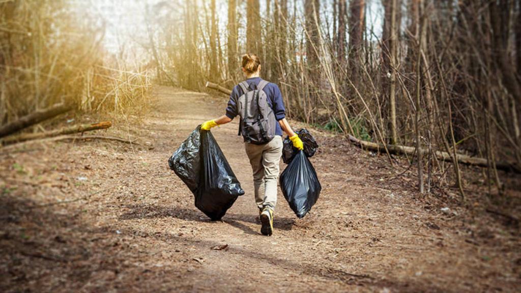 recogida de basura abandonada en el medio ambiente