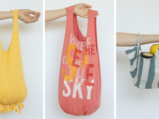 3 ideas para convertir viejas camisetas en bolsos (sin coser)