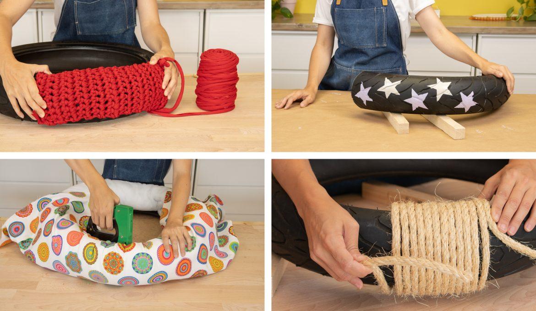 Proyectos DIY con neumáticos reciclados. Ideas para decorarlos